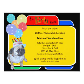 Pug In A Birthday Hat Birthday Barker Card