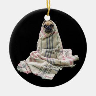 Pug in a Blanket Ceramic Ornament