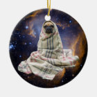 Pug in a Blanket in Outer Space Ceramic Ornament