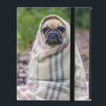 "Pug in a Blanket iPad Folio Case<br><div class=""desc"">Cute and funny little pug sitting in the woods wrapped up in a plaid blanket.  Original photograph by Matthew Henry,  Toronto,  Ontario.</div>"