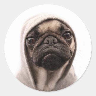 Pug In A Hoodie Classic Round Sticker