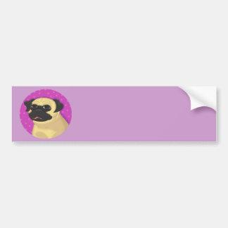 Pug in a Pink Circle Car Bumper Sticker