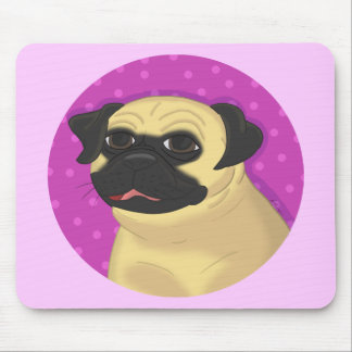 Pug in a Pink Circle Mouse Pad