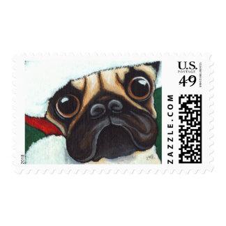 Pug in a Santa Hat - Medium Christmas Postage