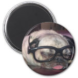 Pug In Glasses 2 Inch Round Magnet