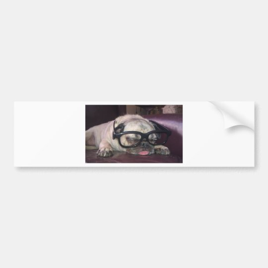 Pug In Glasses Bumper Sticker