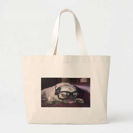 Pug In Glasses Canvas Bag