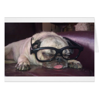 Pug In Glasses Greeting Card