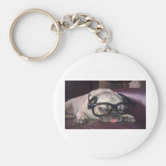 Pug In Glasses Keychain