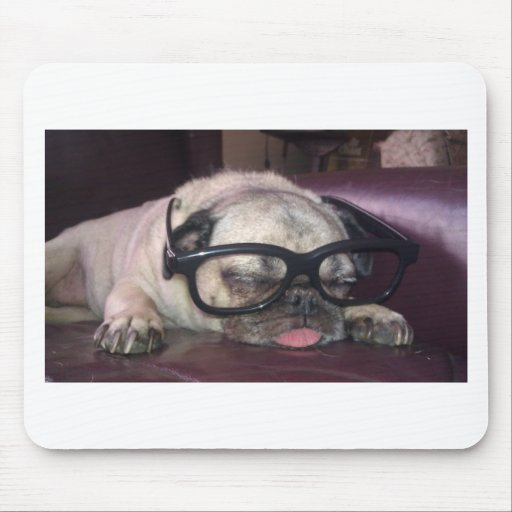 Pug In Glasses Mousepad