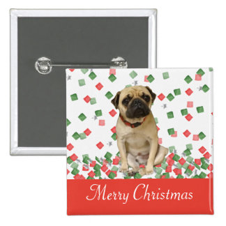 Pug in Hand Painted Christmas Confetti Button