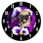Pug in Pansies Clocks