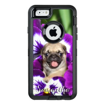 Pug In Pansies Otterbox Phone Case by ritmoboxer at Zazzle