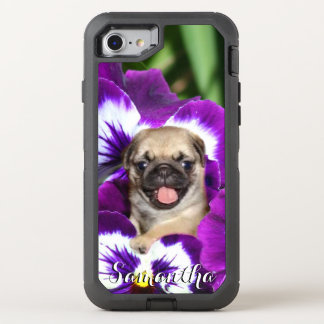 Pug in Pansies Otterbox phone OtterBox Defender iPhone 7 Case