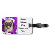 Pug in Pansies Tag For Bags