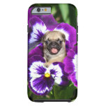 Pug in Pansies Tough iPhone 6 Case