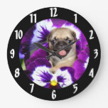 Pug in Pansies Wallclock