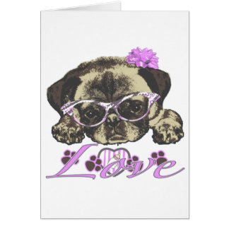 Pug in pink greeting card