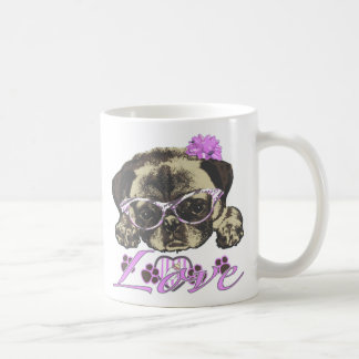 Pug in pink coffee mug