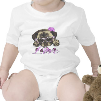 Pug in pink bodysuits