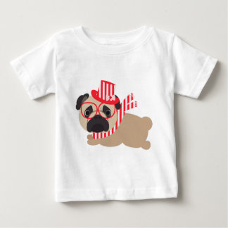 Pug in Red and White Scarf and Hat Baby T-Shirt
