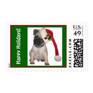 Pug in Santa Hat Xmas Postage