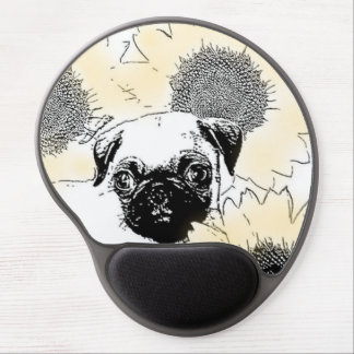Pug in Sunflowers Gel Mouse Pad