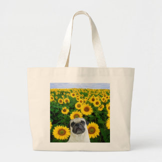 Pug in sunflowers tote bag
