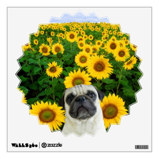 Pug in sunflowers wall decal