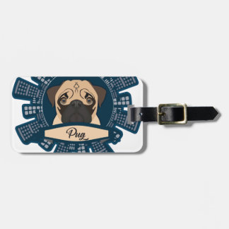 pug in the city bag tag