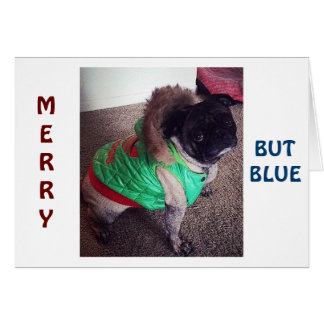 """PUG IS """"MERRY"""" BUT """"BLUE"""" CHRISTMAS WITHOUT """"YOU!"""" GREETING CARDS"""
