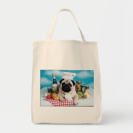 Pug italian Chef Grocery Bag