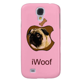 Pug iWoof - Funny iPhone Cases (pink) Galaxy S4 Case