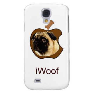 Pug iWoof - Funny iPhone Cases (white) Samsung Galaxy S4 Cases