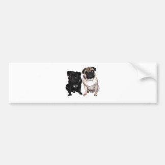 Pug Jack and Richi Car Bumper Sticker