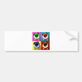 Pug Jack in 4 colors Car Bumper Sticker