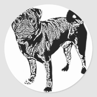 Pug Jack mono chrome Classic Round Sticker