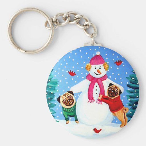 Pug Key chain Frosty's Helpers