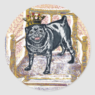 Pug King Classic Round Sticker