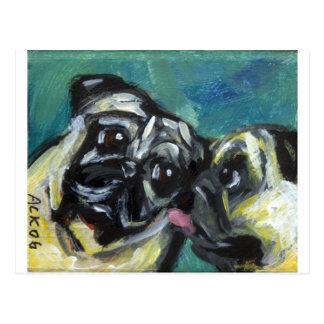 Pug kisses pug postcard