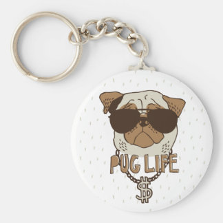 Pug Life Basic Round Button Keychain