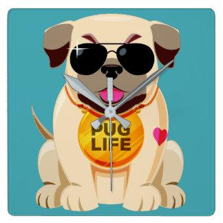 Pug Life custom color wall clock