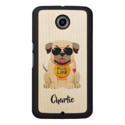 Carved Google Nexus 6 Slim Wood Case with Pug Phone Cases design