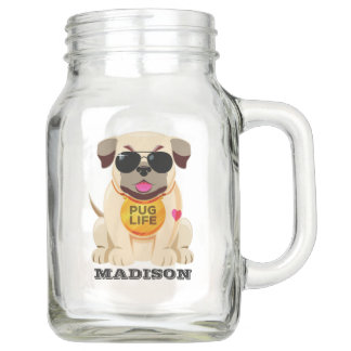 Pug Life custom name mason jars
