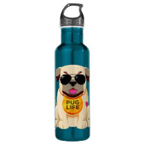 Pug Life custom name water bottles