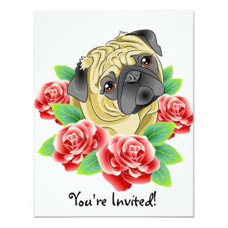 Pug Life Cute Tattoo Style Dog Party Invitations