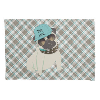 Pug Life Dog in Cap Bandana Shades Plaid Pillow Case