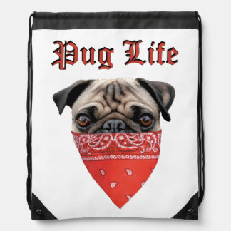 Pug Life Drawstring Bags