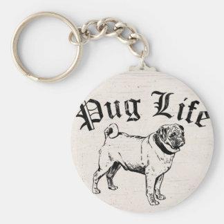 Pug Life Funny Dog Gangster Basic Round Button Keychain