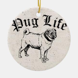 Pug Life Funny Dog Gangster Ceramic Ornament